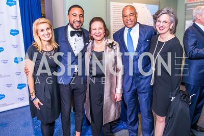Tricia Eisner, Deion Jones, Alma Powell, K. Dane Snowden, Leslie Lautenslager . Photo by Alfredo Flores. Promise Night. Newseum. April 18, 2018.
