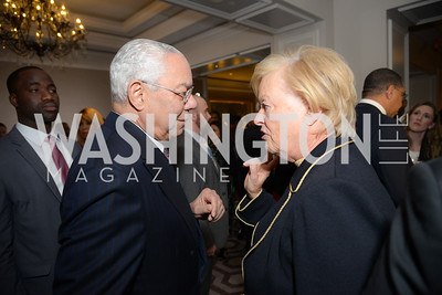 Colin Powell, Michele Rollins, Reception for Jamaican Prime Minister, Ritz Carlton, November 27, 2018.  Photo by Ben Droz.