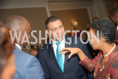 Prime Minister Andrew Holness,  Reception for Jamaican Prime Minister, Ritz Carlton, November 27, 2018.  Photo by Ben Droz.