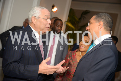 Colin Powell, Prime Minister Andrew Holness,  Reception for Jamaican Prime Minister, Ritz Carlton, November 27, 2018.  Photo by Ben Droz.