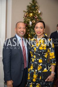 Caron Chung, Stefan Baugh,  Reception for Jamaican Prime Minister, Ritz Carlton, November 27, 2018.  Photo by Ben Droz.