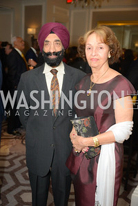Birendar Singh, Hilda McIntosh, Reception for Jamaican Prime Minister, Ritz Carlton, November 27, 2018.  Photo by Ben Droz.