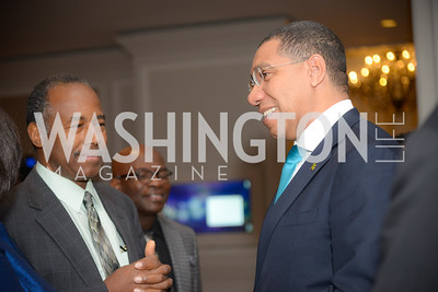 Secretary Ben Carson, Prime Minister Andrew Holness,  Reception for Jamaican Prime Minister, Ritz Carlton, November 27, 2018.  Photo by Ben Droz.