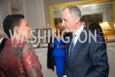 Ambassador Audrey Patrice Marks, Ambassador Armando Varricchio,  Reception for Jamaican Prime Minister, Ritz Carlton, November 27, 2018.  Photo by Ben Droz.