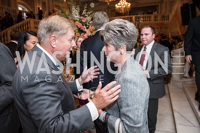 Sen. Lindsey Graham, Sen. Joni Ernst,  Roy Pfautch Dinner, In Honour of The Ambassador of Japan, National Museum of Women in the Arts, June 5, 2018. Photo by Ben Droz.