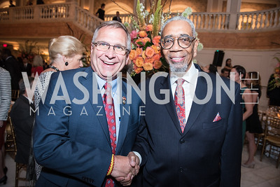 Rep. Mike Bost, Rep. Bobby Rush,  Roy Pfautch Dinner, In Honour of The Ambassador of Japan, National Museum of Women in the Arts, June 5, 2018. Photo by Ben Droz.