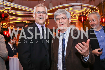 "David Corn, Michael Isikoff. Photo by Tony Powell. ""Russian Roulette"" Book Party. China Chilcano. March 20, 2018"