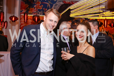 """Daniel Lippman, Amarins Laanstra Corn. Photo by Tony Powell. """"Russian Roulette"""" Book Party. China Chilcano. March 20, 2018"""