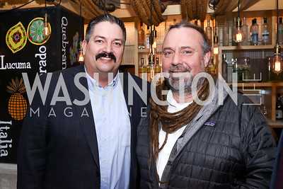 "Randy ""Iron Stache"" Bryce, Bruce Keiloch. Photo by Tony Powell. ""Russian Roulette"" Book Party. China Chilcano. March 20, 2018"
