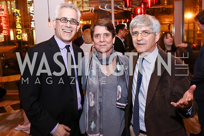 "David Corn, Gail Ross, Michael Isikoff. Photo by Tony Powell. ""Russian Roulette"" Book Party. China Chilcano. March 20, 2018"
