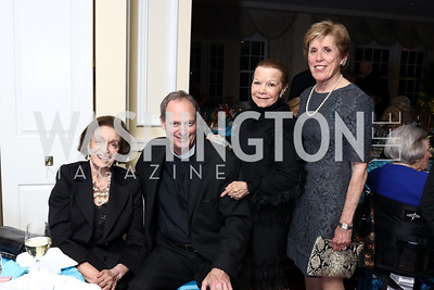 Lucky Roosevelt, Father Kenworthy, Ruthie Leffall, Evie Rooney. Photo by Tony Powell. Ruth Buchanan's 100th Birthday Party. Chevy Chase Club. February 22, 2018