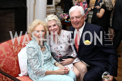 Ruth Buchanan, Britty and John Damgard. Photo by Tony Powell. Ruth Buchanan's 100th Birthday Party. Chevy Chase Club. February 22, 2018