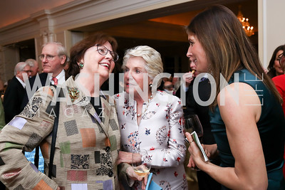 Marcia Carter, Brittain Damgard, Susie Matheson. Photo by Tony Powell. Ruth Buchanan's 100th Birthday Party. Chevy Chase Club. February 22, 2018