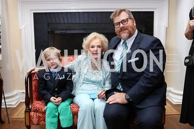 Jack Matheson, Ruth Buchanan, Robert Matheson. Photo by Tony Powell. Ruth Buchanan's 100th Birthday Party. Chevy Chase Club. February 22, 2018