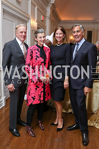 Outerbridge and Georgina Horsey, Frederica and George Valanos. Photo by Tony Powell. Ruth Buchanan's 100th Birthday Party. Chevy Chase Club. February 22, 2018
