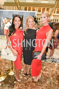 Bethany Kazaba, Jayne Visser, Dana Nebinski, Sean Spicer Book Launch, The Briefing, Trump Hotel, July 26, 2018.  Photo by Ben Droz.