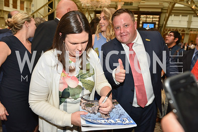 Robert Hyde, Sarah Huckabee Sanders, Sean Spicer Book Launch, The Briefing, Trump Hotel, July 26, 2018.  Photo by Ben Droz.