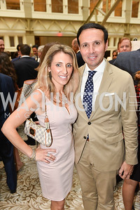 Adriana Sifakis, George Sifakis, Sean Spicer Book Launch, The Briefing, Trump Hotel, July 26, 2018.  Photo by Ben Droz.