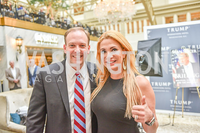 Congressman Lee Zeldin, Marta Boneta, Sean Spicer Book Launch, The Briefing, Trump Hotel, July 26, 2018.  Photo by Ben Droz.