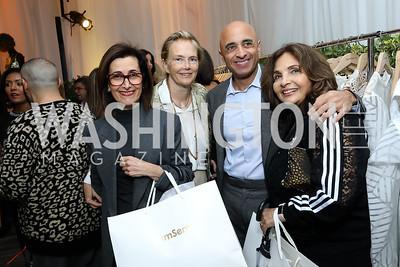 Jordan Amb. Dina Kawar, Jennifer Isham, UAE Amb. Yousef Al Otaiba, Samia Farouki. Photo by Tony Powell. Sem Sem Pop-up. Cafe Milano. October 26, 2018