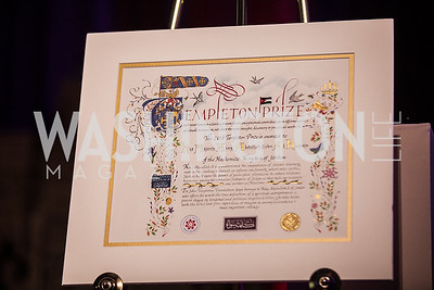 Custom made Templeton Prize for His Majesty King Abdullah II bin Al-Hussein of Jordan, Photo by Jay Snap | LaDexon Photographie, Templeton Prize Ceremony, Washington National Cathedral, November  13, 2018