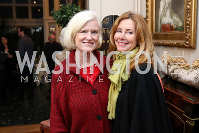 "Caroline Croft, Conchita Sarnoff. Photo by Tony Powell. Thomas Graham ""America, The Founders' Vision"" Book Party. April 3, 2018"