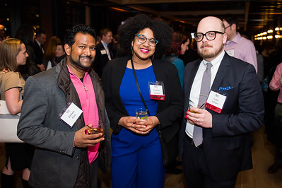 Kishan Putta, Lindsay Thomas, Gabe Bullard. WAMU 1A celebrates their 1st Anniversary at District Winery on February 6, 2018. Photography by Joy Asico