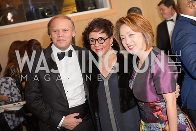 Mark Ein, Sheila Johnson, Dr. Sachiko Kuno,   The Washington Business Hall of Fame, at the National Building Museum, November 28, 2018.  Photo by Ben Droz.