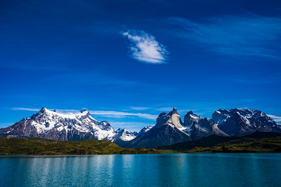 View of Cerro Paine Grande (left) and Los Cuernos del Paine (just right of center) from Lago Pehoé