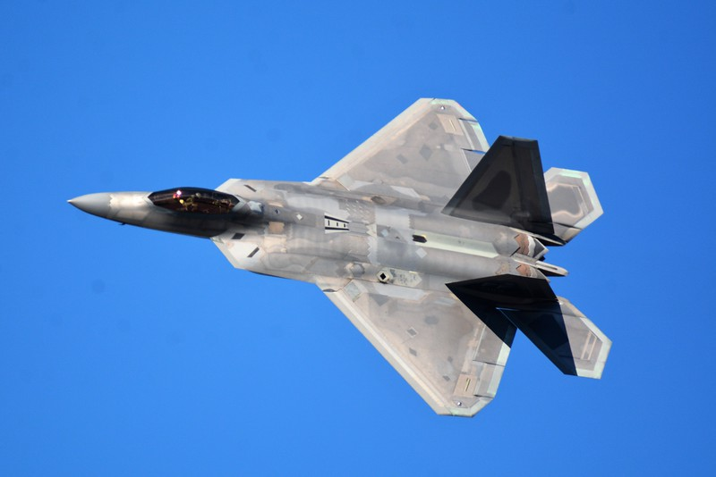 Here's a few frame-up photos of the F-22 I like a lot.  I try to get as much detail as I can.  You can even almost see the pilot in there.