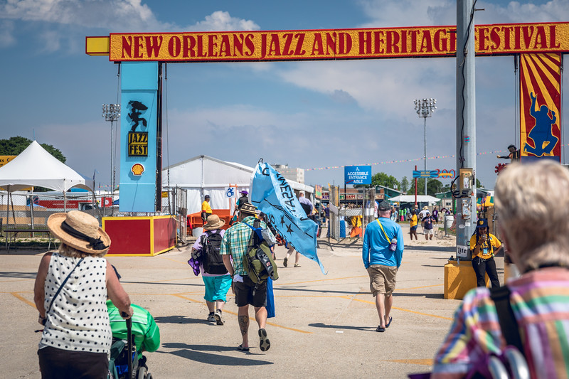 Crowds filing in on Opening Day of the 2018 Jazz Fest