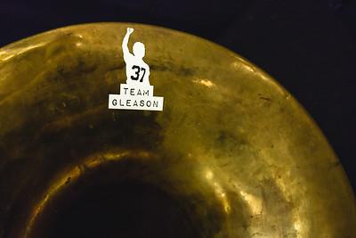 Team Gleason sticker on a sousaphone
