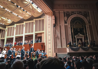 John Williams conducts the Indianapolis Symphony Orchestra on February 12, 2018.