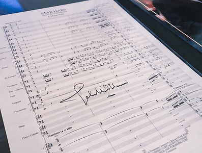 A signed copy of the sheet music for Star Wars as John Williams conducts the Indianapolis Symphony Orchestra on February 12, 2018.