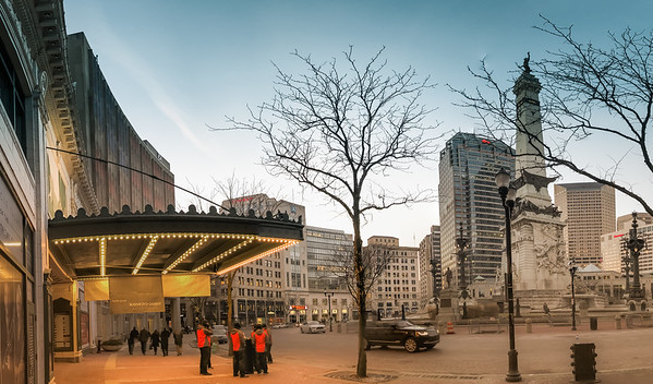A 9 shot panoramic outside of the Hilbert Circle Theatre