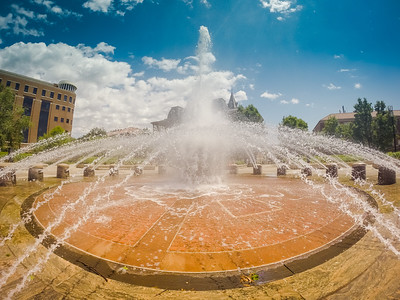 A summer day at Loeb Fountain on the campus of Purdue University