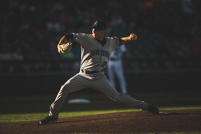 Kirk McCarty pitches for the Lake County Captains May 23, 2018. (Dave Wegiel/MiLB.com)
