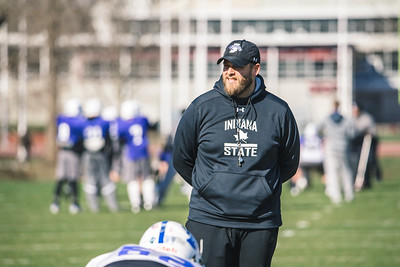 Indiana State football practices on April 6, 2018.