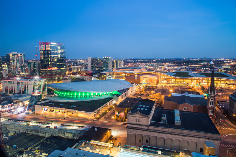 The view from the 18th floor of the Renaissance Hotel Nashville