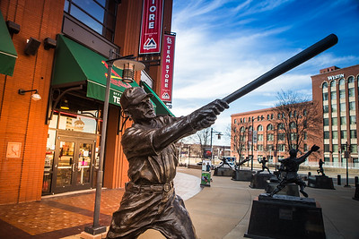 The Rogers Hornsby statue outside of Busch Stadium in St. Louis, Missouri.