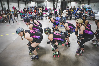 Lafayette Roller Derby takes on Rockford Roller Derby at the Brawl House in Lafayette, Indiana on April 21, 2018.