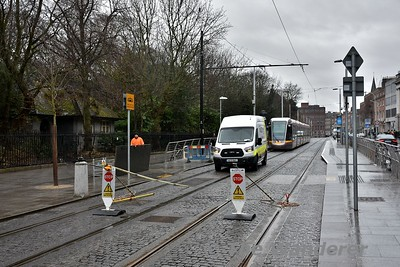 Possession Boards at St. Stephens Green. There was no Green Line service between Cowper and Dominick Tram Stops through the City Centre. Efforts to earth the OCS were ongoing at the time I took this picture. Sun 18.02.18