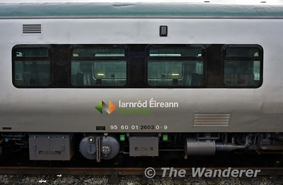 "2603 and 2604 have received a white ""Iarnrod Eireann"" logo instead of the black version applied to the rest of the class. It looks like the paint shop used the 29000 Class version for some reason. Tues 02.01.18"