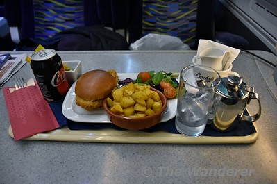 "While it isn't advertised in the timetable, the 1625 Cork - Heuston offers a Bistro service. to first class and dining car customers. See <a href=""http://www.irishrail.ie/media/first_class_menu_21_09_17_final.pdf"">http://www.irishrail.ie/media/first_class_menu_21_09_17_final.pdf</a>. I decided to try out the Chicken Fillet Burger on my journey home. Tues 02.01.18"