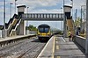 29026 + 29001 arrives into Broombridge with the 1242 Pearse - Maynooth. Note the new footbridge. Sat 07.07.18