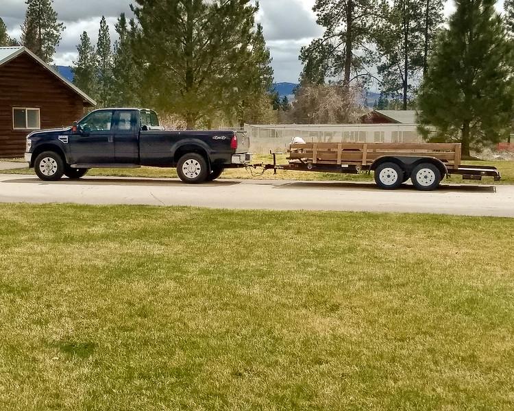 Truck & Trailer at Montana Custom Log Homes