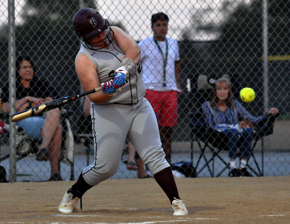 . Berthoud\'s Ashlynn Balliet squares up a pitch for a double against Thompson Valley on Friday Aug. 25, 2017 at Centennial Park. (Cris Tiller / Loveland Reporter-Herald)