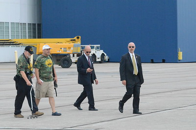 Charles Pritchard - Oneida Daily Dispatch President Donald Trump and Air Force One land at Griffiss International Airport on Monday, Aug. 13, 2018.