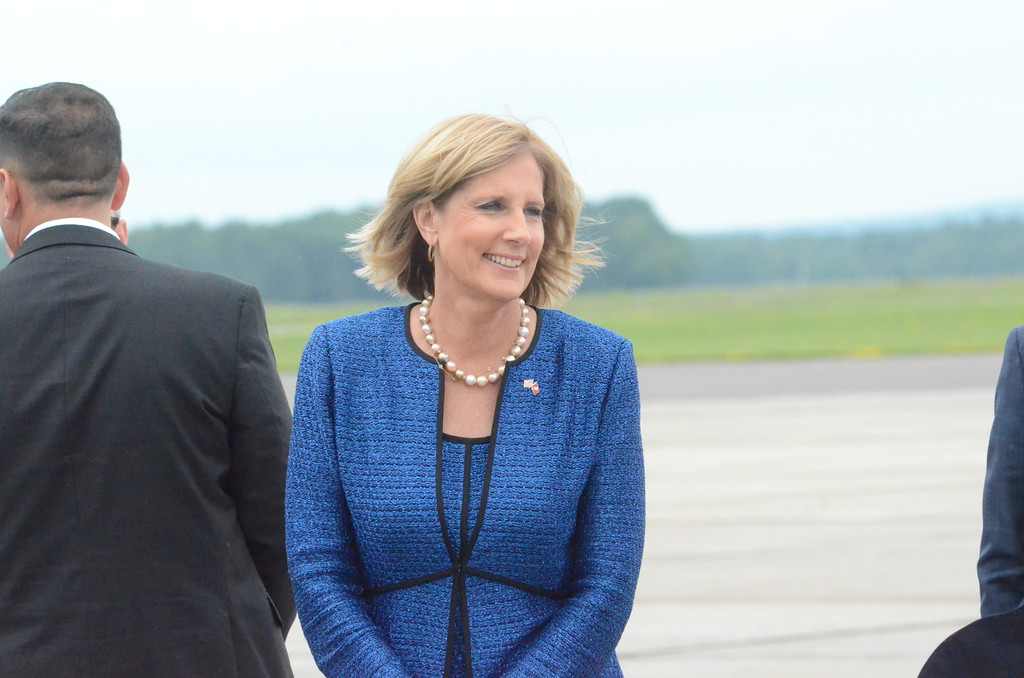 . Charles Pritchard - Oneida Daily Dispatch Congresswoman Claudia Tenney, R-22, waits for President Donald Trump to land at Griffiss International Airport on Monday, Aug. 13, 2018.
