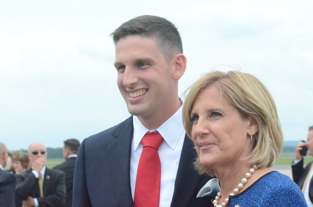 . Charles Pritchard - Oneida Daily Dispatch Congresswoman Claudia Tenney, R-22, and her son Wayne �Trey� Cleary III wait for President Donald Trump to land at Griffiss International Airport on Monday, Aug. 13, 2018.